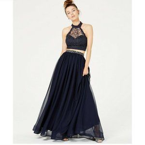 Sequin Hearts 21 Navy 2 PC Glitter Gown NWT BX69